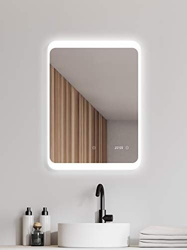 ALLDREI badkamerspiegel met verlichting badkamerspiegel met digitale klok Vertikale 60 X 80 CM