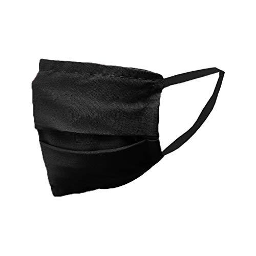 Mund-Nasen-Maske Mundbedeckung Gesichtsmaske Stoffmaske Behelfsmaske Baumwolle Waschbar 202007 (2, schwarz)