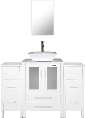 """48"""" White Bathroom Vanities and Sink Combo,Porcelain Vessel Sink(Square),Chrome Faucet,Drain Parts,2 Small Side Cabinet Removable,Mirror Included"""