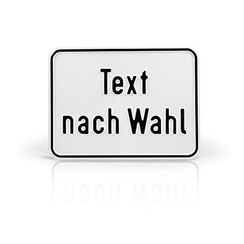 Betriebsausstattung24® Individuell gefertigtes Schild im Querformat mit Wunschtext | Geprägt | Text nach Wahl | Aluminiumschild | Weiß/schwarz | Ecken abgerundet | Größe: 40,0 x 30,0 cm