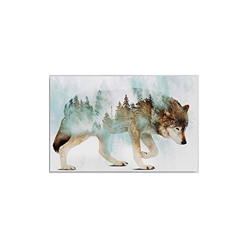 LILOING Wolf Wood Modern Framed Wall Decor Print Home Artwork Painting 1 Piece Fantasy Animal Canvas Wall Art Home Poster Picture Ready to Hang for Bedroom Bathroom Decoration