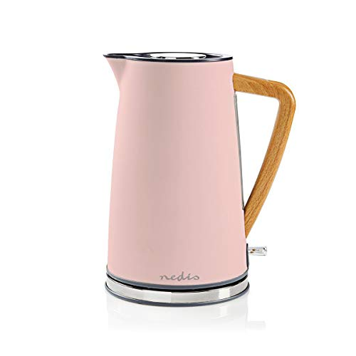NEDIS Wasserkocher Elektrische Wasserkocher - 1,7 l - Soft-Touch - Farbe: Grau - Material: Stainless Steel - Minimiert Kalkablagerungen - Kabellose 360°-Drehsockel Pink 0.80 m