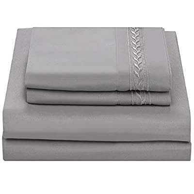 """Chtoocy King Bed Sheets Set Brushed Microfiber, 16"""" Deep Pocket King Size Bed Fitted Flat Sheets Set King, Easy Fit Extra Soft Wrinkle&Fade Resistant Hypoallergenic 4Pc King Sheets Set(Gray)"""