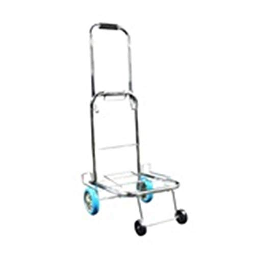 CHOUCHOU Shelves Trolley Household Folding Portable Mute Trolley Car Shopping Cart Luggage Car Hot Rolled Steel PU Wheel Can Bear 25kg shopping cart (Color : A),Colour:A Flower Pot Rack (Color : A)