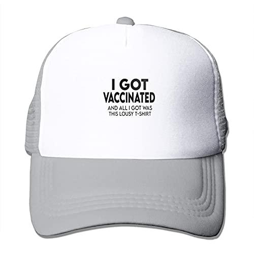 Vacunado I Got My Vaccine Trucker Gorras de malla con red de PC cifrada transpirable ajustable para hombres mujeres gris