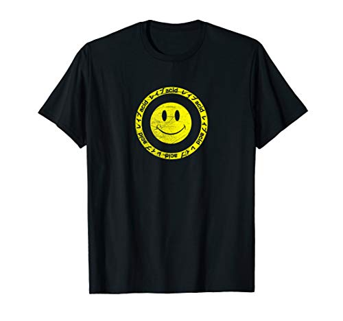 Vintage Acid Smiley - Techno Rave Synth Nerd T-Shirt 90s
