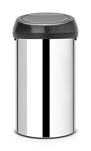 Brabantia 402586 Poubelle Touch Bin, 60 L - Inox brillant avec couvercle noir mat