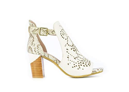 LAURA VITA, Becrineo 230, Sandales Cuir Femmes, Chaussures de Ville Été, Semelle Confortable - Style Original Fleurs, Blanc (Numeric_39)