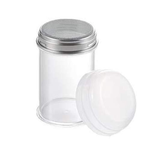 タイガークラウン パウダー缶 クリア 75×120mm スプリングボトル メッシュ メタクリル樹脂 目盛付 カバー付 448