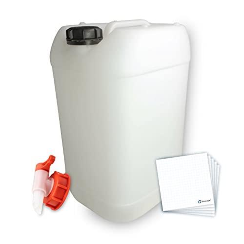 Trevendo Bidón de agua potable con grifo y etiqueta para rotulación (1 bidón, 2,5 litros).