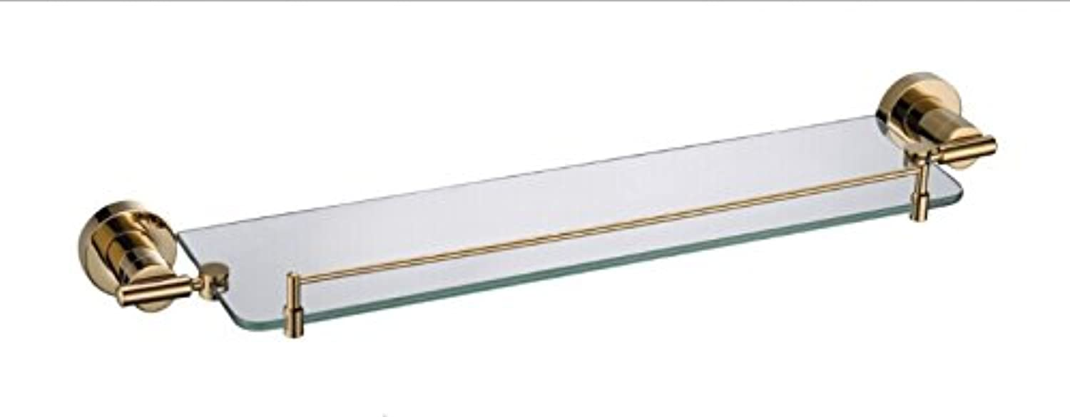 XAH@ Copper single layer glass shelf titanium gold 625 long 19911A round pedestal bathroom accessories outlet , 63013069mm