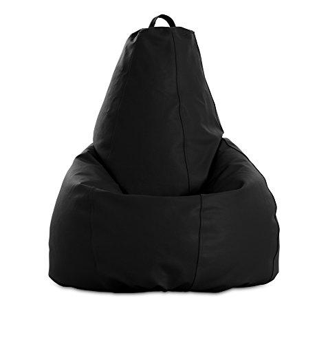 textil-home Puf - Pera moldeable XL Puff - 80x80x130 cm- Color Negro. Tejido Polipiel Alta Resistencia - Doble repunte - (Incluye Relleno Bolas Poliestireno).