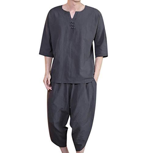 XUEBing Conjunto de 2 piezas para hombre de verano conjunto de trajes de camisetas y pantalones cortos casual cómodo algodón cáñamo manga corta trajes