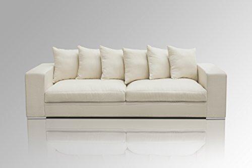 Amaris Elements | 'Monroe' Modernes 4 Sitzer Sofa inklusive 6 Kissen Couch Samt-Optik beige/Creme - XXL Sofa im Landhausstil Wohnlandschaft