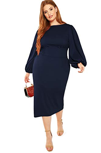 Milumia Women's Plus Size Round Neck Long Sleeve Belted Pencil Party Dress L-Navy 2XL