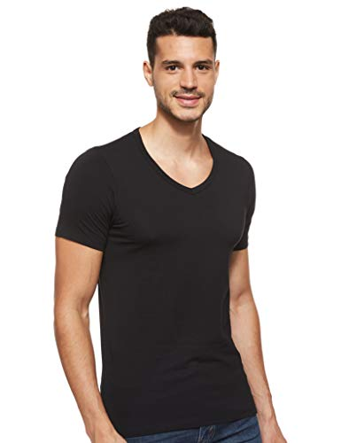 Jack & Jones Herren T-Shirt Basic V-Neck Tee S/S NOOS 12059219, Herren , M, Schwarz (Black)