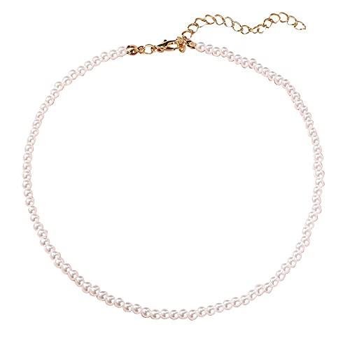 XCSM Elegante Gargantilla de Perlas de imitación Blanca Cadena de clavícula 4-14 mm Collar Ajustable de Perlas Redondas para Mujeres Niñas Novias Boda Cumpleaños Festival Joyería de Moda