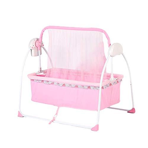 Best Price Smart Electric Infant Bouncers Balance Toddler Rocker Baby Automatic Folding Shaker Comfort Cradle Bed (Color : Pink)