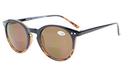 Eyekepper Key Hole Style Spring-Hinged Round Bifocal Sunglasses Sunshine Readers Black-Tortoise +3.0