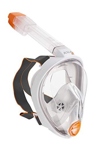 OCEAN REEF - Aria Mask Schnorchelmaske - Tauchermaske mit Mundstück für Kinder mit bunten Stickern - Für eine bessere 180 Grad Unterwassersicht - Unisex - Weiß