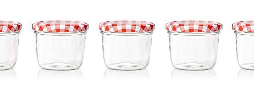 MO\'S KITCHEN 20er Set Sturzglas 230 ml Marmeladenglas Einmachglas Einweckglas to 82 rot karrierter Deckel
