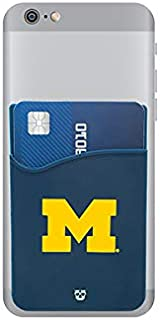 Michigan Wolverines Adhesive Silicone Cell Phone Wallet/Card Holder for iPhone, Android, Samsung Galaxy, Most Smartphones