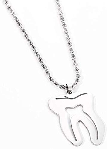NC110 Necklace Charm Collar Necklace Teeth Stainless Steel Pendant for Dentist Silver Color Necklace Special Hip-Hop Long Chain Man Women Gifts