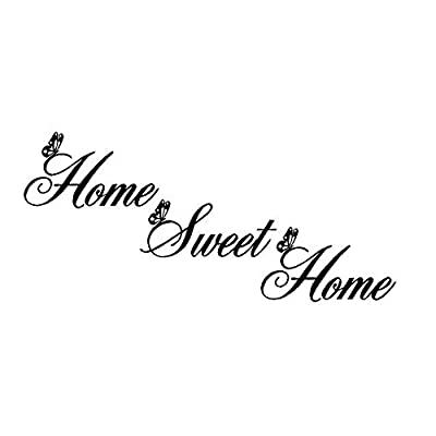 Home Sweet Home Quote Wall Decal Sticker, Creatiee Removable DIY Vinyl Wall Decor Art Mural for Living Room Bedroom Family Decor - Elegant Design & Home Warming Gift