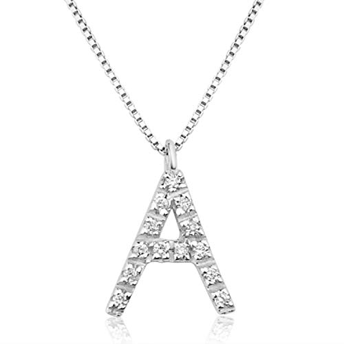 MILLE AMORI ∞ Collar Mujer Pendiente Oro y Diamantes - Oro Blanco 9 Kt 375 ∞ Diamantes 0.07 Kt - malla Veneciana 42 cm - Oreo (S)