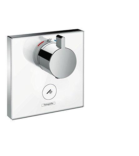 hansgrohe ShowerSelect Glas Unterputz Highflow-Thermostat, für 1 Funktion mit zusätzlichem Abgang, Weiß/Chrom