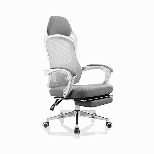 QFFL Bürostuhl, Bürostuhl, Mesh-High Back Computer-Schreibtisch-Drehstuhl mit Ausziehbaren Fußbank und Kopfstütze Ergonomischer Chefsessel - Schwarz Grau Drehstuhl (Color : Gray)