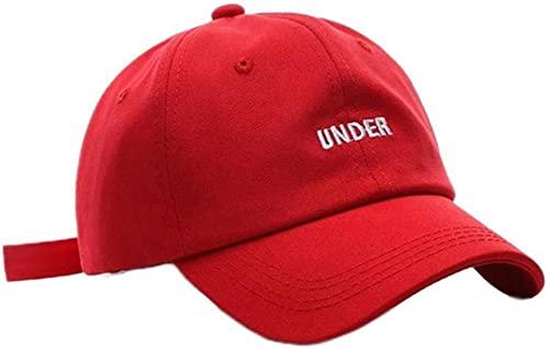 hwljxn Gorra de béisbol Gorra de béisbol de algodón para Mujeres y Hombres Moda Snapback Sombrero bajo Sombreros de Bordado Sombrero de Deportes al Aire Libre (Color : Red, Size : 6 3/47 3/8)