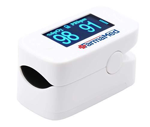 FARMAMED 3 in 1 Saturimetro da dito, Ossimetro, Pulsossimetro professionale per Saturazione Ossigeno, Frequenza Cardiaca e Indice Perfusione, Display OLED XXL ruotabile, Custodia in dotazione, Bianco