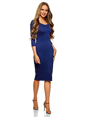 oodji Ultra Damen Enges Kleid mit Rundem Ausschnitt, Blau, DE 36 / EU 38 / S