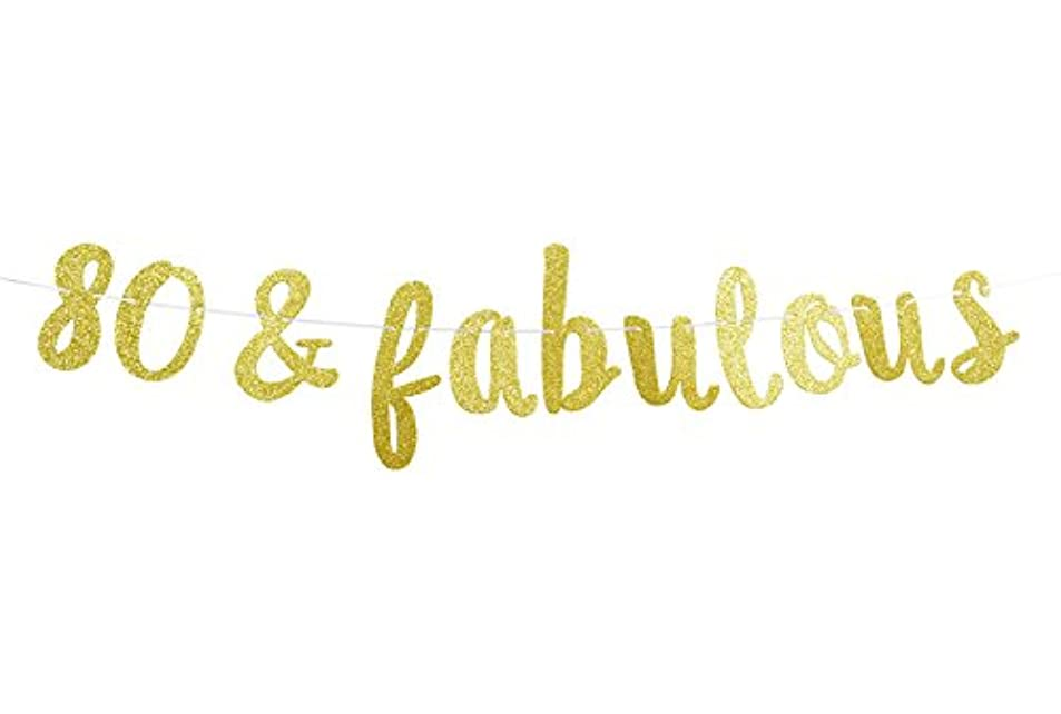 Firefairy? 80 & Fabulous Cursive Banner- Happy 80th Birthday Anniversary Party Supplies, Ideas and Decorations(Gold) usxpcbci7366