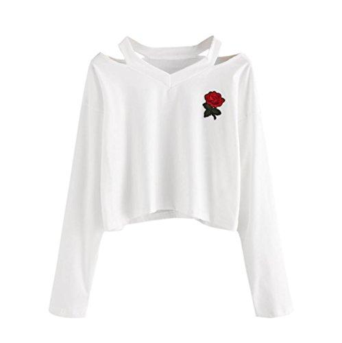 Amlaiworld Sweatshirts Rose Stickerei locker Sweatshirt Damen Blumen kurz Niedlich Pullover warm weich Herbst Pulli (S, D, Weiß)