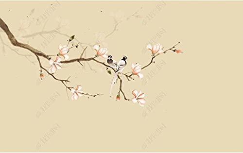 Mural de papel tapiz 3D Flor de estilo chino y flor de magnolia de pájaro. Sala de estar dormitorio y otro papel tapiz mural de decoración de pared