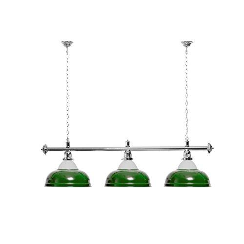 Billardlampe 3 Schirme grün mit Glas/silberfarbene Halterung