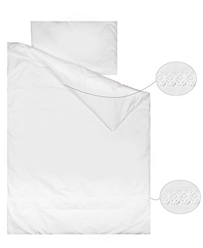 Vizaro - Duvet Cover Bedding Set - COT 60x120cm - Pure Premium Cotton - Dim. 90x120cm, 30x60cm - Made in EU - OekoTex - Safe for Babies - C. White Lace