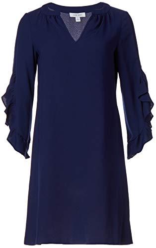NINE WEST Women's Ruffle Sleeve Shift Dress, Navy, 6