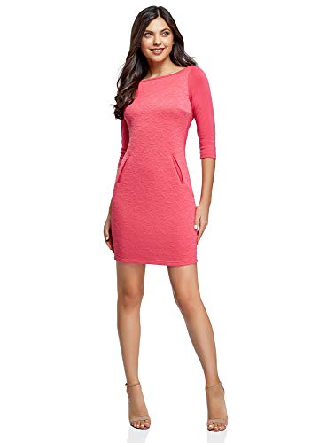 oodji Collection Damen Knielanges Kleid mit 3/4 Arm, Rosa, DE 38 / EU 40 / M