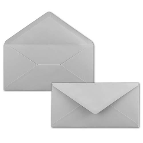 50 Brief-Umschläge Hell-Grau DIN Lang - 110 x 220 mm (11 x 22 cm) - Nassklebung ohne Fenster - Ideal für Einladungs-Karten - Serie FarbenFroh®