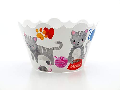 Kitty Cat Party Supplies Cupcake Wrappers (12 Pack) -'Purr-fect' Kitten Cupcake Party Favors, Cat Theme Birthday Party Decorations
