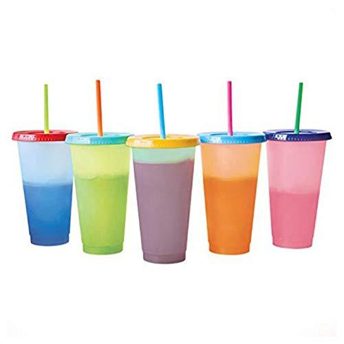 YUY 5 Tazas Que Cambian de Color Tazas Reutilizables Que Cambian de Color Tazas Frías Botellas de Agua de Café, Botella de Agua con Tapas y Pajitas para La Familia, Amigos