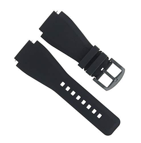 24mm Rubber Watch Band Strap Compatible with Sony Smart Watch 2 Ii Watch Brush Buckle