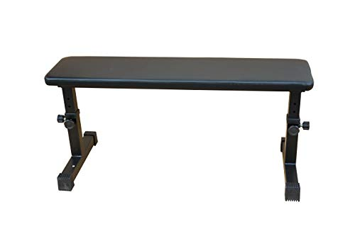 Rakon Height Adjustable Utility Flat 300 lbs Capacity Weight Bench For Strength Training And Ab Exercises