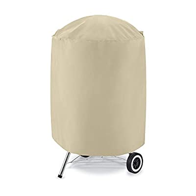 UNICOOK Heavy Duty Waterproof Dome Smoker Cover 23''Dia & 30''Dia, Charcoal Grill Cover, Desert Sand