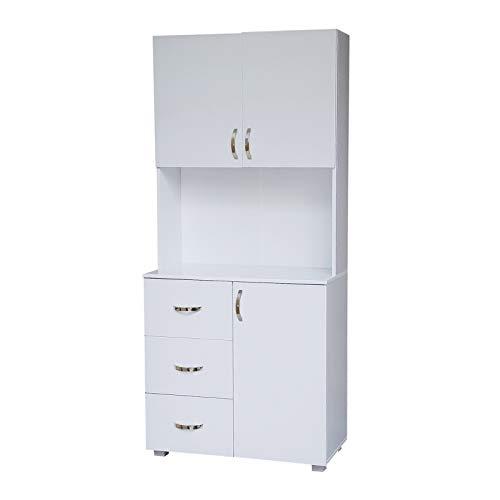 HTI-Line Küchenbuffet Blanca Küchenregal Küchenmöbel Mikrowellenschrank Buffetschrank Hochschrank Weiß