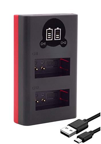 Baxxtar Mini cargador – compatible con batería Canon LP-E12 – Dual LCD 18752 – Alimentación a través de USB-C o Micro USB – para EOS 100D M M10 M50 M100 M200 PowerShot SX70 HS