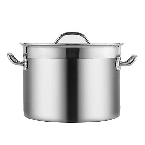 Cazos de Cocina, Ollas para sopa con tapa, olla común, olla para sopa comercial / doméstica de acero inoxidable 201 con tapa para cocina de gas / inducción (14-58L) (Tamaño: 58L)